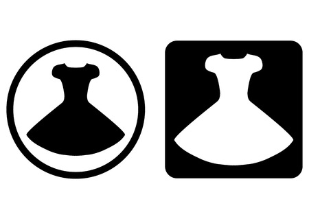 transparent dress: Set button, icon dress. Round and rounded square. Silhouette of the gown. Black, white. Isolated image. Black and transparent background icon. Silhouette of the gown.