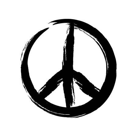 pacifist: Sign pacifist, peace symbol, drawn by hand with a brush. Black Hippie sign on a white background. Isolated.