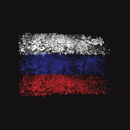 fine particles: Flag of Russia. Brush strokes. Fine particles. Isolated, black background. Illustration