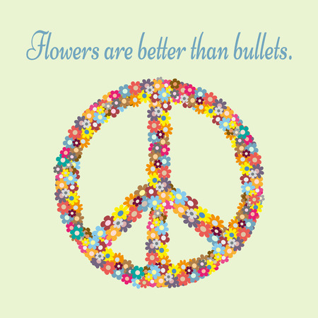 Anti-war propaganda. Silhouette pacifism sign painted colorful flowers. Text Flowers are better than bullets. Isolated abstract. Иллюстрация