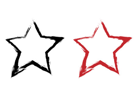 Intermittent silhouette star painted rough brush by hand. Black, red element. Abstract symbol isolated on white background.