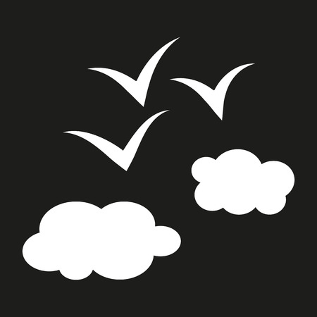 above clouds: Simple schematic illustration of birds flying above the clouds. The white color on a black background. Abstract sketch.