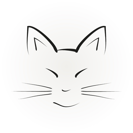 whiskers: Silhouette of a cat face with big ears, painted black brush strokes. Abstract illustration, isolated vector.