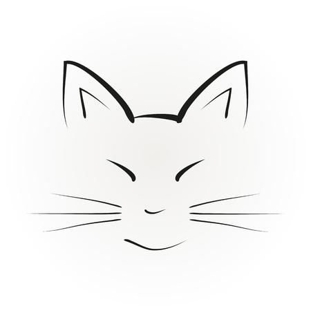 Silhouette d'un visage de chat avec de grandes oreilles, peint des coups de pinceau noir. Résumé illustration, vecteur isolé.