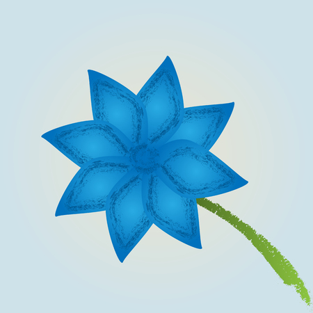 A single flower with a stem, painted blue paint. Brush strokes with the spray on the petals. Abstract illustration. Blue background.