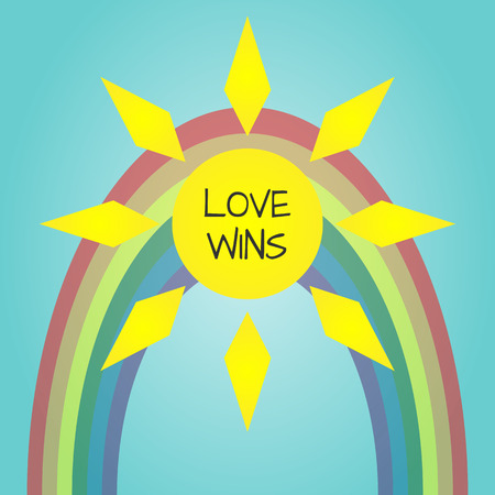 wins: Multicolored LGBT poster. Bright sun, dim rainbow, text Love Wins. Abstract. Transparency.