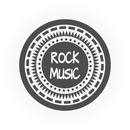 hardcore: Abstract round gray frame of the various elements. White text Rock Music. Isolated object.