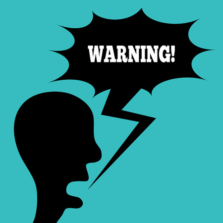 screaming head: Silhouette of a screaming mans head in profile. Cloud thought, lightning. Word of Warning! Abstract caricature illustration.