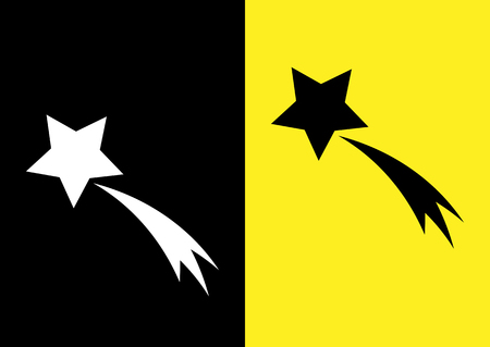 comet: Schematic picture of the comet. Star and trail. Icon on a black and yellow background. Abstract.