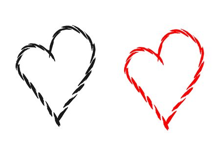 heart abstract: Silhouette of the heart, drawn by individual brush strokes. Black and red isolated element. Abstract.