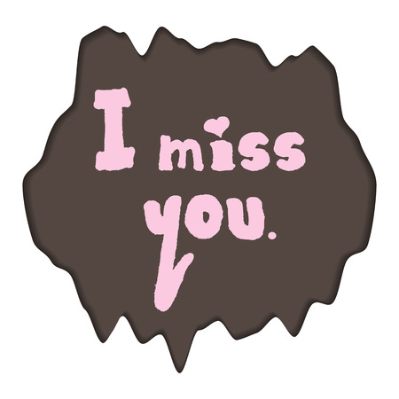 """Handwriting """"I miss you"""" with a heart. Abstract asymmetrical background. Isolated element."""
