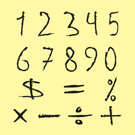 signos matematicos: Set of black numbers and mathematical signs. Figures drawn scruffy brush. Isolated on yellow background. Grunge. Vectores