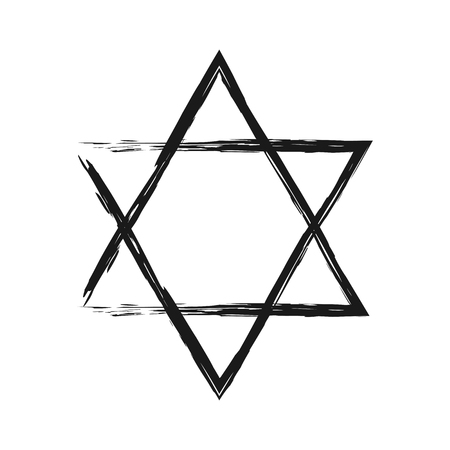 holocaust: Symbol of Judaism. Star of David painted the broken brush. Isolated single element. Illustration