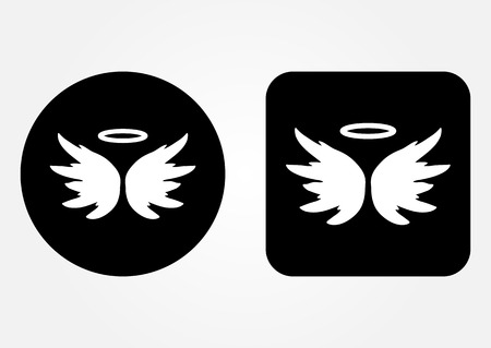 nimbus: Icon schematic image of an angel. Nimbus, Wings, backdrop. Set of round and square web button. White on a black background. Illustration