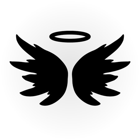 animal angelic: Abstract angel image. The wings and halo. Isolated object. Icon vector. Sketch.