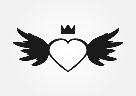 heart with wings: Sketch heart, wings, crown. Abstract silhouette. Isolated.