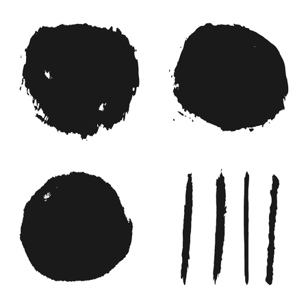 smears: Grunge background stains and smears a rough brush. Seven isolated abstract elements for design.