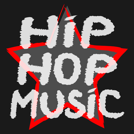 scratchy: Text Hip Hop Music handwritten rough brush. The symbol of the star background. Color banner. Illustration