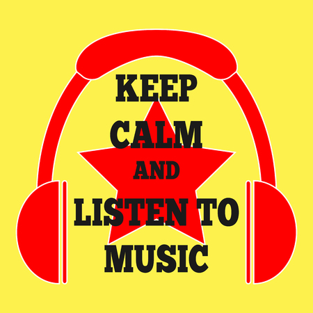 philosophy of music: Color square poster with the words Keep calm and listen to music. Sign headphones, star.