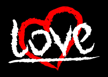 Text Love handwritten rough strokes. The symbol of the heart. Color template.
