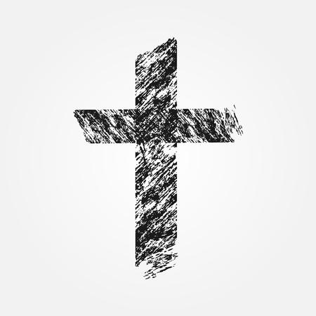 cross hatching: Grunge Christian cross. Isolated symbol. Uneven brush.