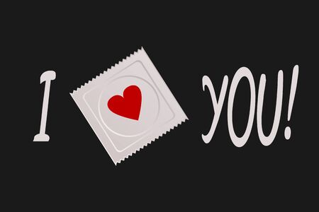 venereal: The text I love you! Image of condom package with heart drawing. Stylized.