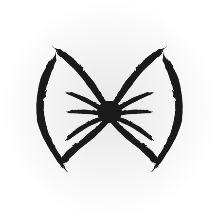 Grunge icon bow drawn a rough brush. Isolated single element. Illustration