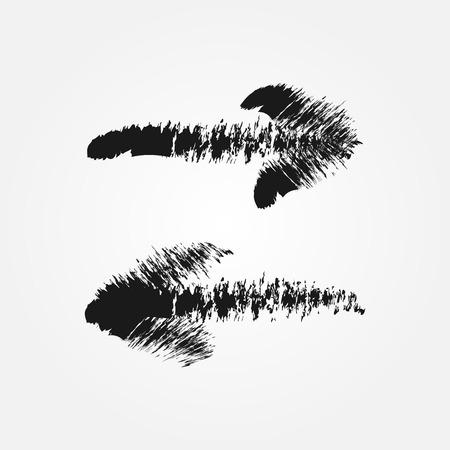 Straight arrow. Imitation brush mascara. A set of two isolated element. Illustration