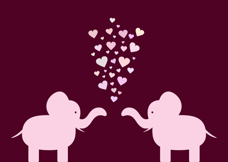 fidelity: Silhouette of lovers elephants with hearts. Pink, purple. Illustration