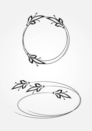 simple frame: Simple floral frame. Round and oval. Two isolated element.
