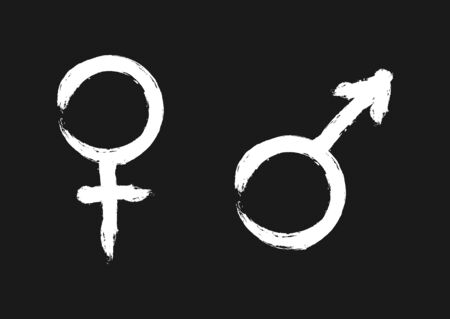 Male and female symbols. Sign of identity. The white silhouette on a black background.