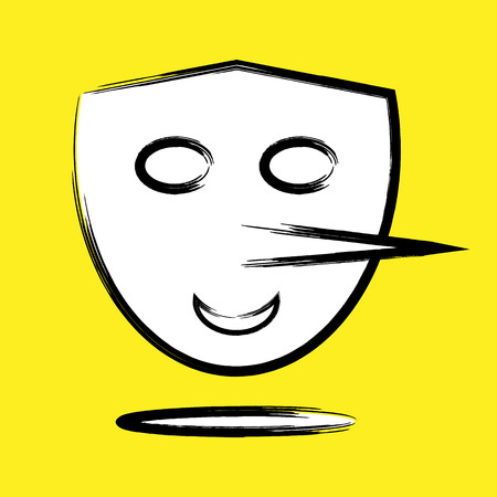 chuckle: Abstract funny mask with a long nose. Colorful.