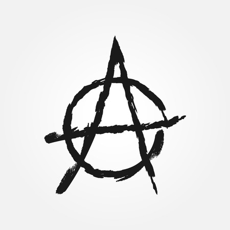 anarchism: Sign anarchy. The symbol of anarchism. Isolated element. Grunge.