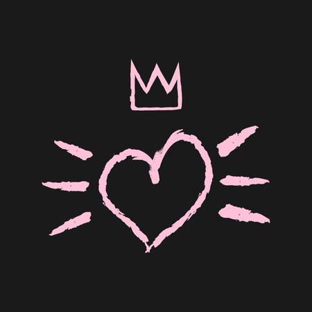 heart with crown: Silhouette of the heart, crown and brush strokes. Grunge, broken, rough. Black, pink.