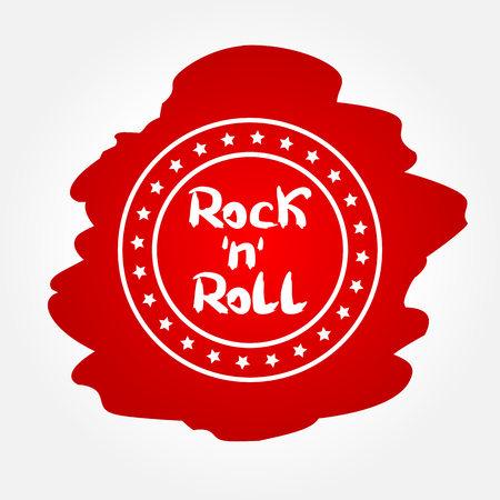 Text Rock 'n' Roll in circular frame with the stars. Abstract blurry background. Red, White. Vetores
