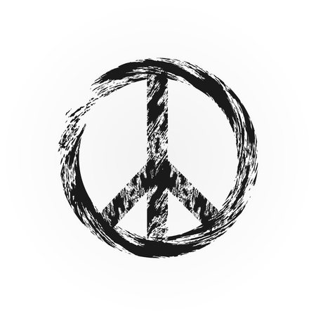 Grunge peace symbol. Broken sign pacifism. Rough brush. Isolated. Illustration