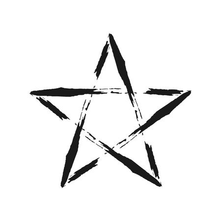 karkas: Frame ster geschilderd met penseel. Grunge. Geïsoleerd. Stock Illustratie