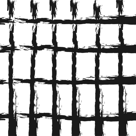 crossing tangle: Checkered background. Rough brush smears. Grunge. Square. Illustration