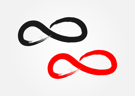 eternally: Symbol of Infinity. Ragged brush, grunge. Black and red isolated element.