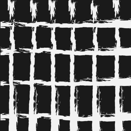 Intersecting lines, cell. Grunge background. Torn brush. Square.