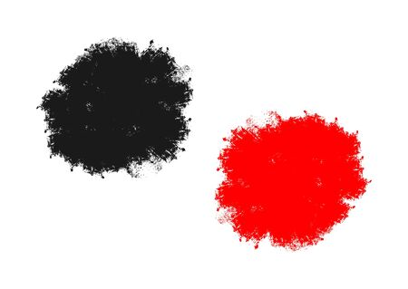 Stain painted a rough brush. Black and red isolated splash. Grunge.