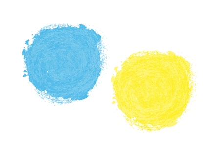 Colorful spots. Blue and yellow blotch painted with a brush. Isolated.