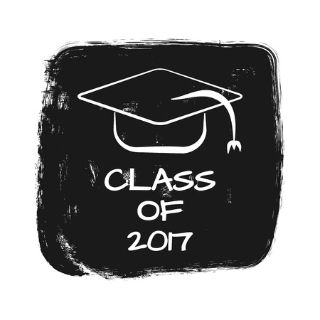 trencher: Vector with text Class of 2017. silhouette of academic cap. Torn grunge background. Print, card, sticker, template for T-shirt. White, black. Illustration