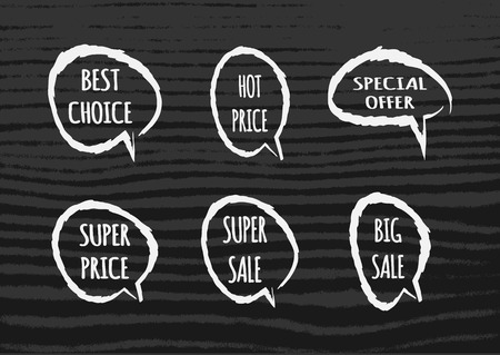 super hot: Set cloud of thoughts with the text Hot Price, Best Choice, Special offer, Super Big Sale. Torn brush. Dark striped background. Isolated templates.