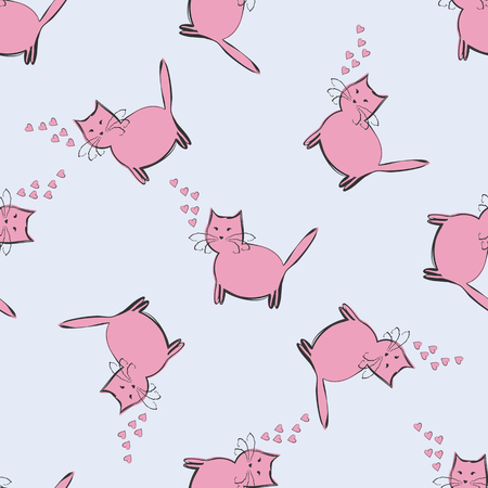 Funny cat with pink hearts on a blue background. Seamless pattern.