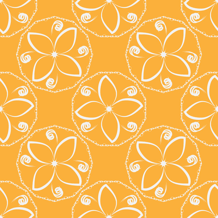 Seamless floral ornament. Abstract white flowers on an orange background. Repeating texture. Illustration