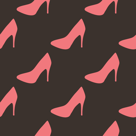 zapatos caricatura: Repeated pattern high heel shoes. Seamless texture pumps. Pink, brown.