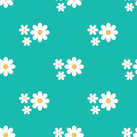 Modèle floral sans fin primitif. Marguerites de dessins sur un fond bleu.