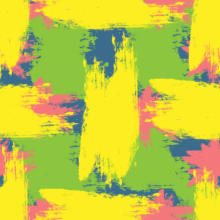 smears: Colorful grunge texture. Rough brush smears. Seamless pattern. Yellow, pink, green, blue. Illustration