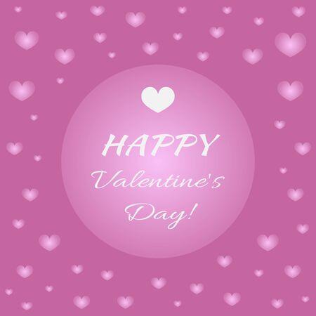 shiny hearts: Card Happy Valentines Day! Shiny hearts, frame, white text congratulation. Purple background.